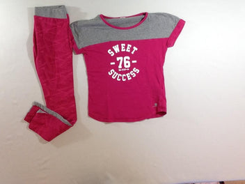 T-shirt m.c gris chiné rose + Legging