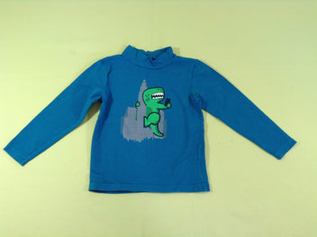 T-shirt m.l col montant bleu turquoise dino