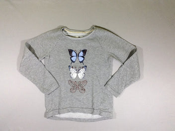 Sweat gris chiné papillons
