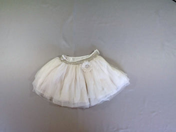 Jupe tulle blanche doublure satinée
