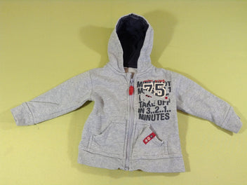 Sweat zippé à capuche gris chiné 75 avion