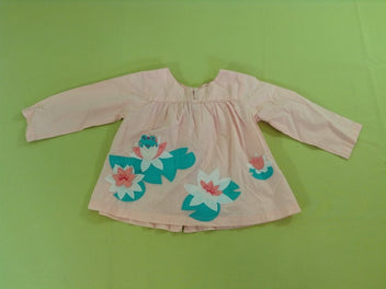 Blouse m.l rose nénuphars grenouille
