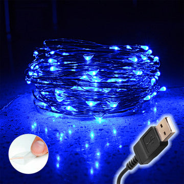 Blue LED String Lights - Indoor/Outdoor, Waterproof, Flexible Copper Wire with USB 33f/10 m