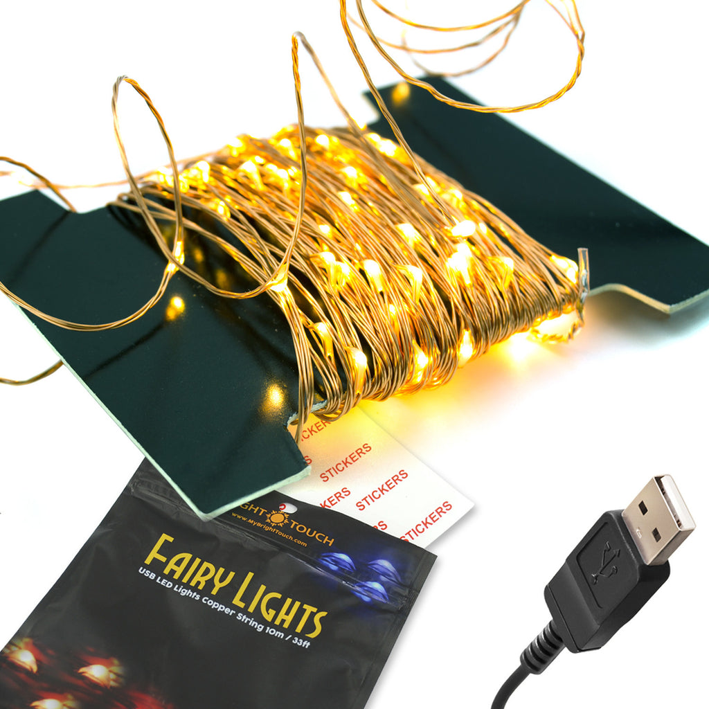 100 Starry Fairy String LED Lights - Indoor/Outdoor, Waterproof, Flexible Copper Wire with USB 33 Ft/10M Adhesive Round Stickers Included(Warm White)