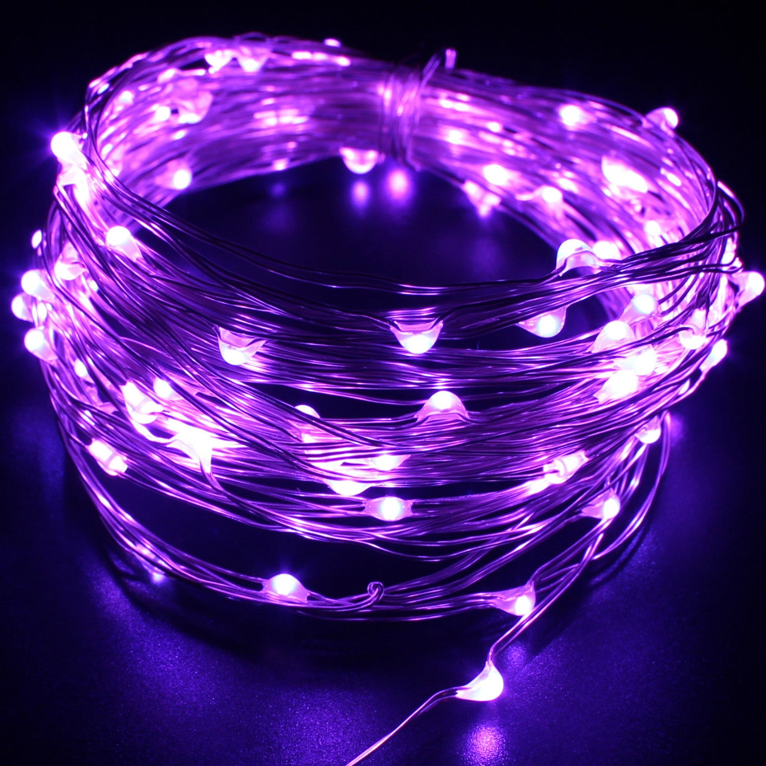 Purple String LED Lights   Indoor/Outdoor, Waterproof, Flexible Copper Wire  With USB