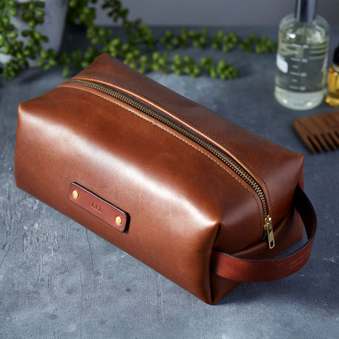 personalised leather wash bag man gun bear