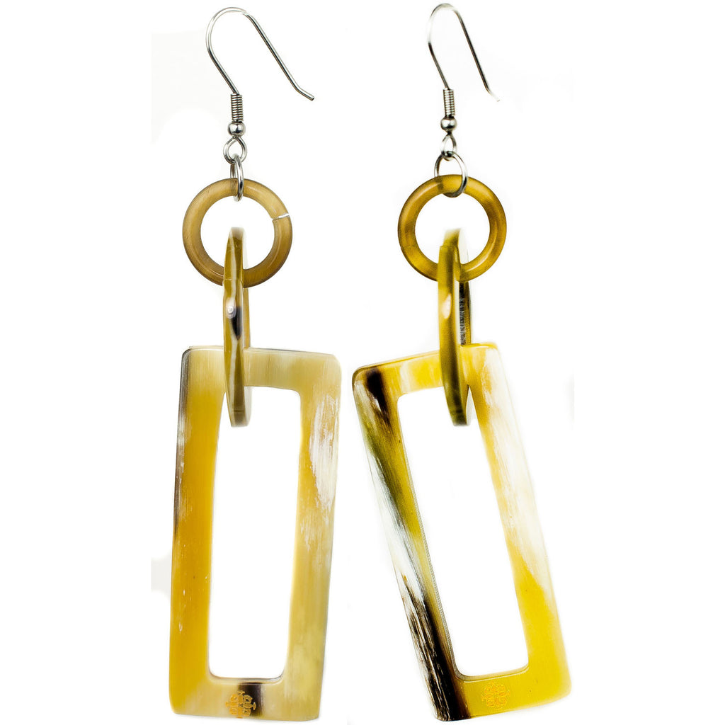 Horn Rectangle Dangle Earrings