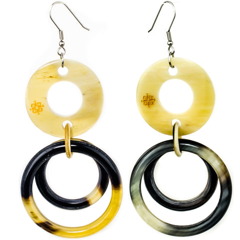 Horn Circle in Circle Earrings