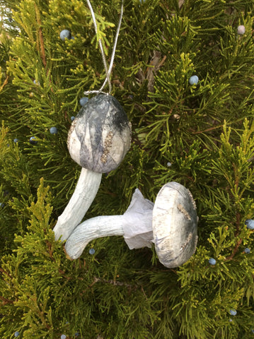 Mushroom Christmas Ornament - Gray