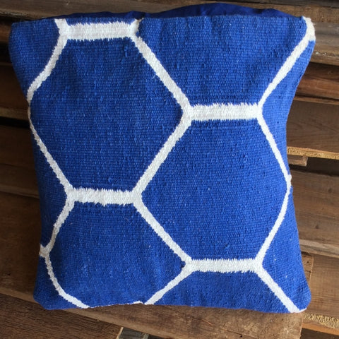 blue graphic kilim pillow