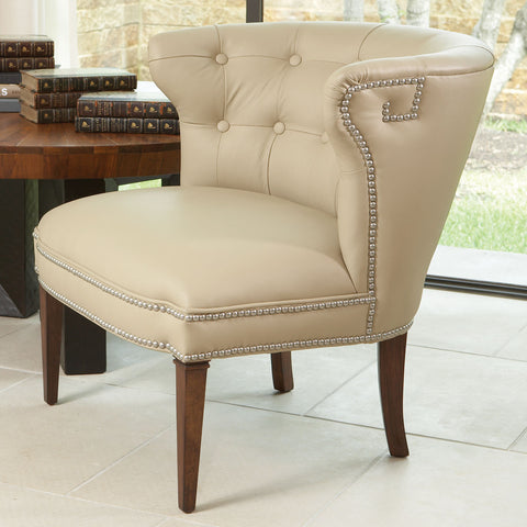 Greek Key Klismos Chair-Beige w/Nickel Tacks