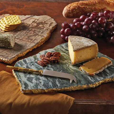 Marble Cheese Plate with gold edges and cheese knife