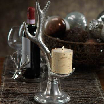 Silver Antler Candle Holder