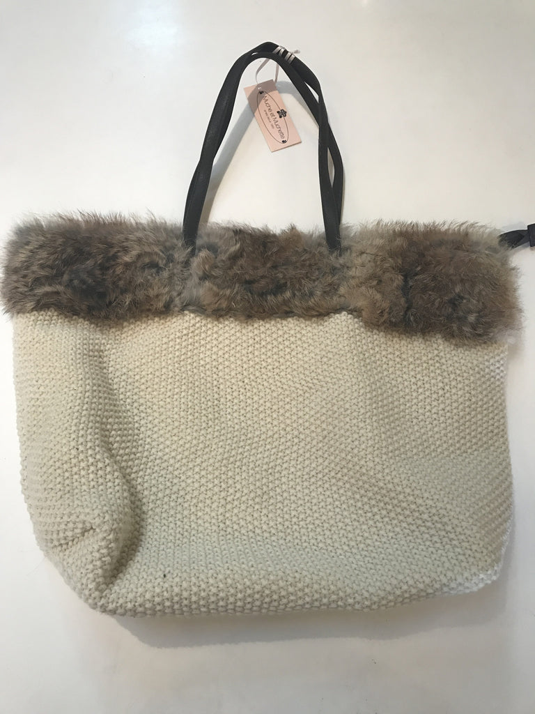 White Fur Trim Tote