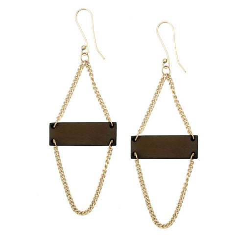 Black Bone Bar Earrings