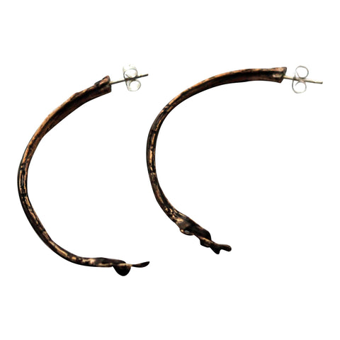 Bronze Hoop Stalk Earrings sterling silver posts