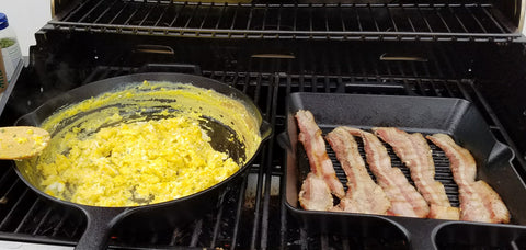 Cooking breakfast on the grill.