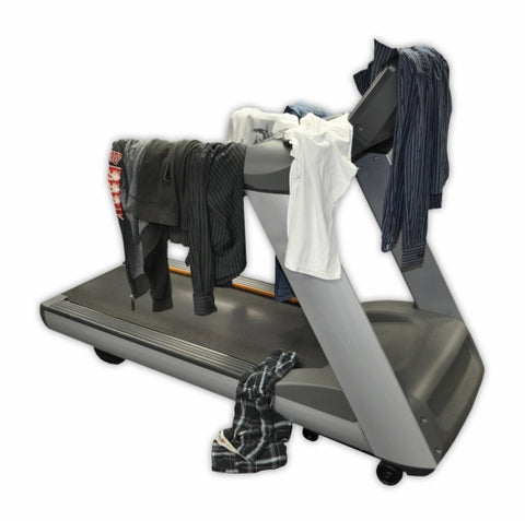 Treadmill as a clothes rack.