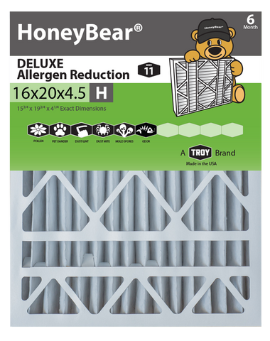 "16x20x4.5 ""H"" HoneyBear® MERV 11 DELUXE Allergen Reduction Air Filter (Pack of 2)"