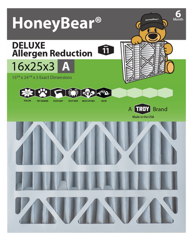 "16x25x3 ""A"" HoneyBear® MERV 11 DELUXE Allergen Reduction Air Filter (Pack of 3)"