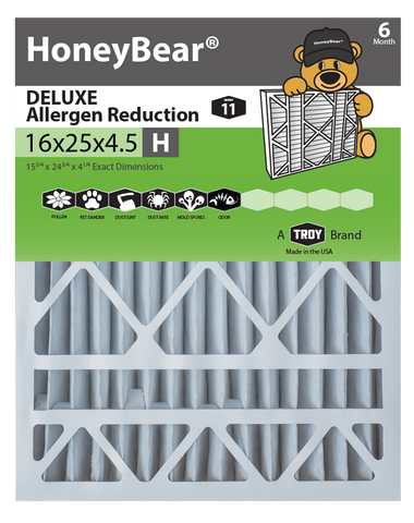 "16x25x4.5 ""H"" HoneyBear® MERV 11 DELUXE Allergen Reduction Air Filter (Pack of 2)"