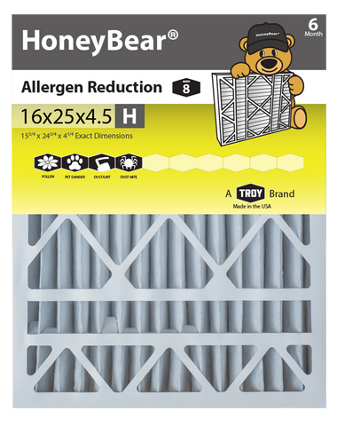 "16x25x4.5 ""H"" HoneyBear® MERV 8 Allergen Reduction Air Filter (Pack of 2)"
