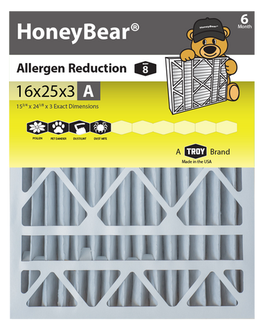 "16x25x3 ""A"" HoneyBear® MERV 8 Allergen Reduction Air Filter (Pack of 3)"