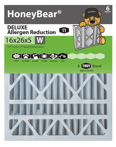 "16x26x5 ""W"" HoneyBear® MERV 11 DELUXE Allergen Reduction Air Filter (Pack of 2)"