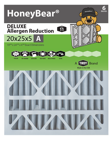 "20x25x5 ""A"" HoneyBear® MERV 11 DELUXE Allergen Reduction Air Filter (Pack of 2)"