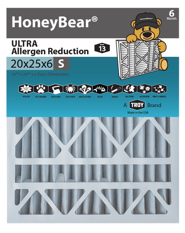 "20x25x6 ""S"" HoneyBear® MERV 13 ULTRA Allergen Reduction Air Filter (Pack of 2)"