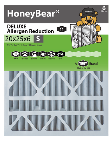"20x25x6 ""S"" HoneyBear® MERV 11 DELUXE Allergen Reduction Air Filter (Pack of 2)"