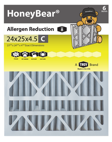 "24x25x4.5 ""C"" HoneyBear® MERV 8 Allergen Reduction Air Filter"