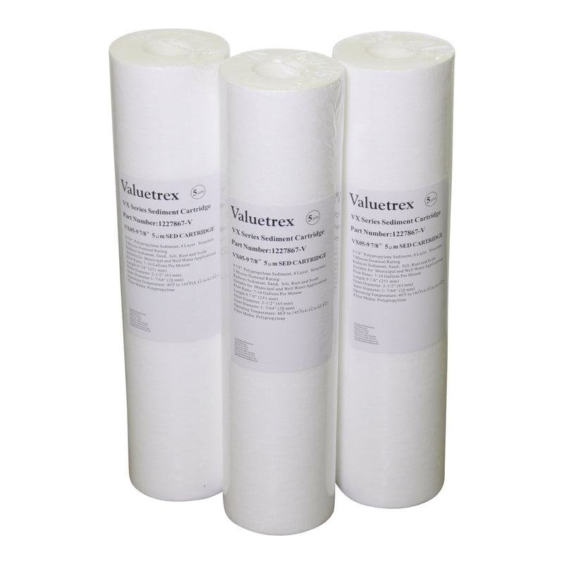 "Valuetrex 5 micron 10"" Sediment Part #1227867-V Pkg of 3"