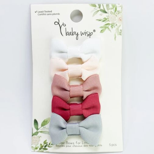 Baby Wisp Charlotte Bows Snap Clip - Wedding Bliss 5pk BW1808