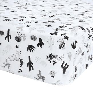 Perlim Pin Pin Crib Fitted Sheet Cotton Muslin Cactus Black