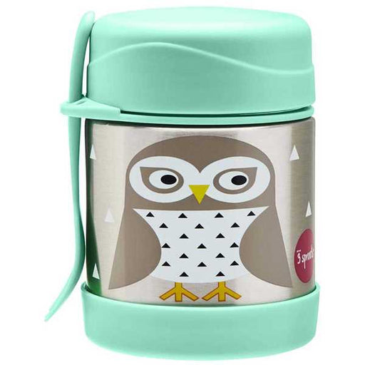 3 Sprout Stainless Steel Food Jar - Mint Owl