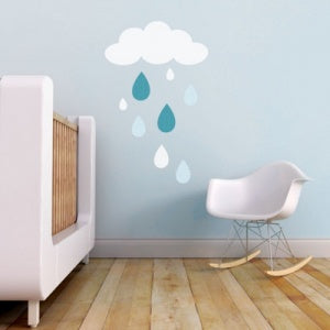 Trendy Peas Wall Decals Rain Dorp White/Teal