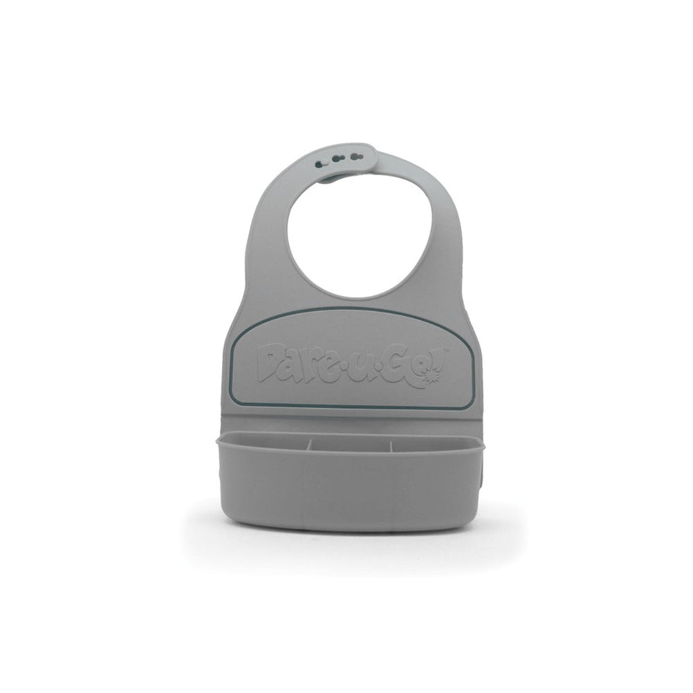 Dare U Go Waterproof Silicone Toddler Bib with Food Container - Grey