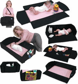 Leachco Nap 'N Pack 4-in-1 Anywhere Travel Bed-Black and Pink