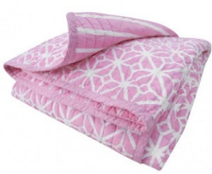 CoCalo Mix & Match Lattice Reversible Coverlet - Audrey Pink