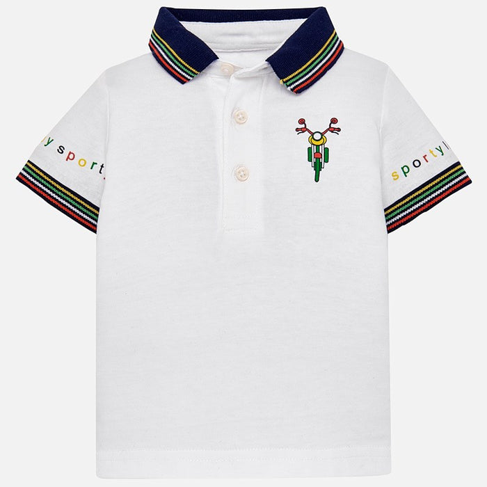63321b19 Mayoral Baby Short Sleeve Polo Patent Striped White 1123 — CanaBee Baby
