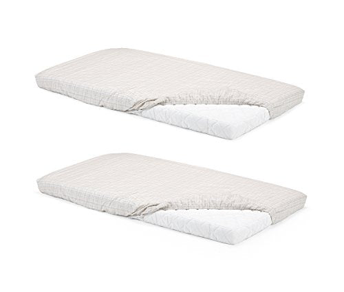 Stokke Home Bed Fitted Sheet 2pc - White/Beige Checks