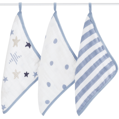 Aden + Anais Washcloth Set 3pk Rock Star 3050F