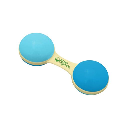 Green Sprouts Cornstarch Dumbbell Rattle Made From Plants Aqua  3m+