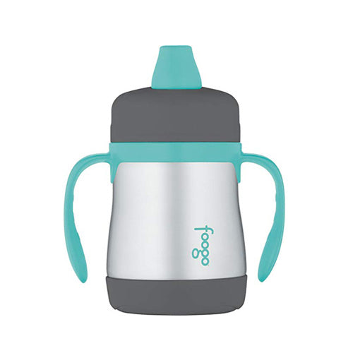 Thermos Foogo Stainless Steel Double Wall Sippy Cup Charcoal/Teal 7oz