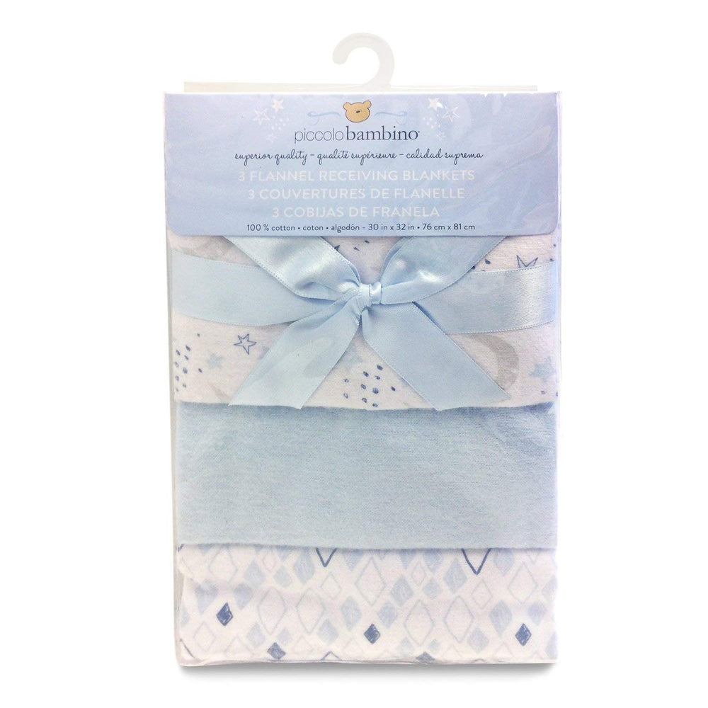 Piccolo Bambino Flannel Receiving Blanket Vinyl Bag Blue 3pk