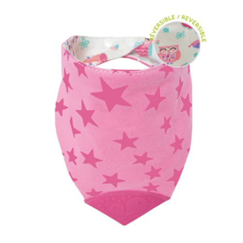 Perlim Pin Pin Bubbly Teething Bib Pink Star - CanaBee Baby