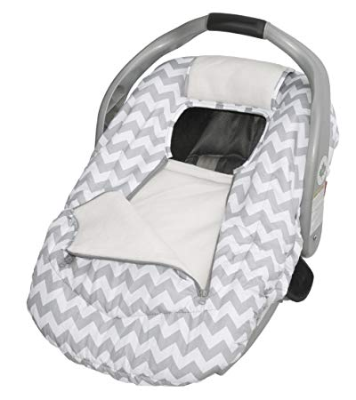 Jolly Jumper Arctic Sneak-a-Peek Infant Car Seat Cover - Grey Chevron 434