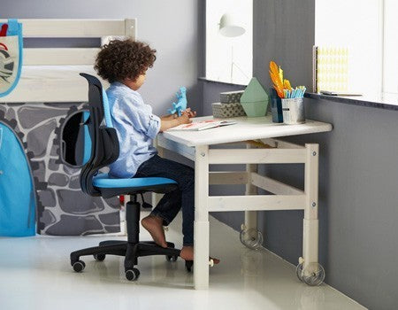 FLEXA Pullout Desk w Tiltable Desktop Adjustable Height Clear Lacq. (Markham In Store Pick Up Only)