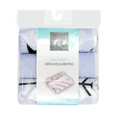 Kushies Wash Cloths 3pk Blue Star/Solid/One Direction